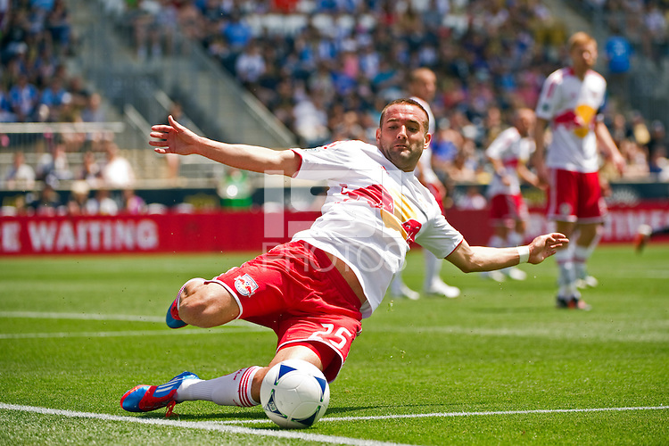 Brandon Barklage (25) of the New York Red Bulls tries to save a ball from going past the end line. The New York Red Bulls defeated the Philadelphia Union  3-2 during a Major League Soccer (MLS) match at PPL Park in Chester, PA, on May 13, 2012.