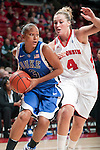 Wisconsin Badgers forward Tara Steinbauer (4) defends against Duke Blue Devils guard Shay Selby (3) during an NCAA college women's basketball game during the ACC/Big Ten Challenge at the Kohl Center in Madison, Wisconsin on December 2, 2010. Duke won 59-51. (Photo by David Stluka)