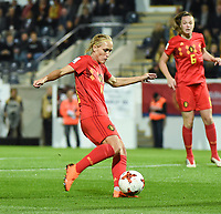 20181005 - LEUVEN , BELGIUM : Belgian Janice Cayman scoring the opening goal pictured during the female soccer game between the Belgian Red Flames and Switzerland , the first leg in the semi finals play offs for qualification for the World Championship in France 2019, Friday 5 th october 2018 at OHL Stadion Den Dreef in Leuven , Belgium. PHOTO SPORTPIX.BE | DIRK VUYLSTEKE