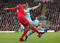 Liverpool's Joel Matip battles with Burnley's Sam Vokes<br /> <br /> Photographer Rich Linley/CameraSport<br /> <br /> The Premier League - Liverpool v Burnley - Sunday 12 March 2017 - Anfield - Liverpool<br /> <br /> World Copyright &copy; 2017 CameraSport. All rights reserved. 43 Linden Ave. Countesthorpe. Leicester. England. LE8 5PG - Tel: +44 (0) 116 277 4147 - admin@camerasport.com - www.camerasport.com