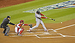 12 October 2012: The St. Louis Cardinals third baseman David Freese in action during Postseason Playoff Game 5 of the National League Divisional Series against the Washington Nationals at Nationals Park in Washington, DC. The Cardinals stunned the home team Nats with a four-run rally in the 9th inning to defeat the Nationals 9-7 and win the NLDS, moving on to the NL Championship Series. Mandatory Credit: Ed Wolfstein Photo