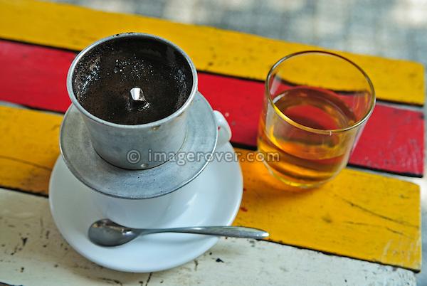 Asia, Vietnam, Ho Chi Minh City (Saigon). Typical vietnamese style Hot Cafe Milk.