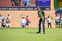 Tony Finau (USA) reacts to sinking his birdie putt on 16 during round 4 of the Valero Texas Open, AT&amp;T Oaks Course, TPC San Antonio, San Antonio, Texas, USA. 4/23/2017.<br /> Picture: Golffile | Ken Murray<br /> <br /> <br /> All photo usage must carry mandatory copyright credit (&copy; Golffile | Ken Murray)