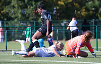20190921 – LEUVEN, BELGIUM : OHL's Lisa Vanhentenrijk (on the floor, left) and goal keeper Mirthe Claes (on the floor, right) and E. Aalst's Henriette Awete are pictured during a goal attempt at women soccer game between  Oud Heverlee Leuven Ladies B and Eendracht Aalst Ladies on the fourth matchday of the Belgian Division 1 season 2019-2020, the Belgian women's football  national division 1, Saturday 21th September 2019 at the Bruinveld Youth Complex, Domeinstraat in Leuven , Belgium. PHOTO SPORTPIX.BE | SEVIL OKTEM