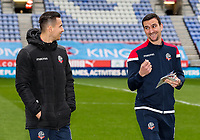 Bolton Wanderers' Pawel Olkowski and Jack Hobbs inspecting the pitch before the match<br /> <br /> Photographer Andrew Kearns/CameraSport<br /> <br /> The EFL Sky Bet Championship - Wigan Athletic v Bolton Wanderers - Saturday 16th March 2019 - DW Stadium - Wigan<br /> <br /> World Copyright &copy; 2019 CameraSport. All rights reserved. 43 Linden Ave. Countesthorpe. Leicester. England. LE8 5PG - Tel: +44 (0) 116 277 4147 - admin@camerasport.com - www.camerasport.com