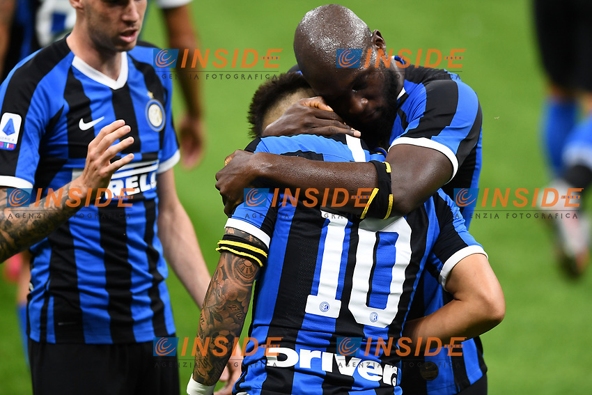 Lautaro Martinez of FC Internazionale celebrates with Romelu Lukaku  after scoring the goal of 2-0 during the Serie A football match between FC Internazionale and UC Sampdoria at Stadio San Siro in Milano ( Italy ), June 21th, 2020. Play resumes behind closed doors following the outbreak of the coronavirus disease. <br /> Photo Image/Insidefoto