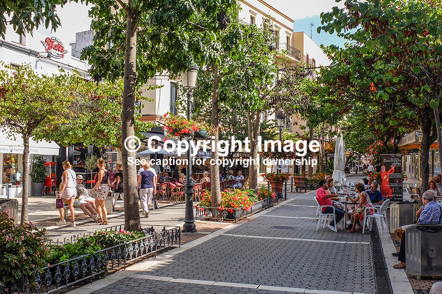 Pedestrian street, Estepona, Malaga Province, Spain, España, October, 2018, 2018100815<br />