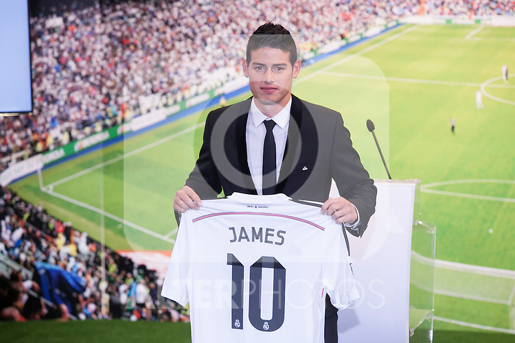 bd96083ed12 Colombian player, James Rodriguez, during his official presentation as a  new Real Madrid player