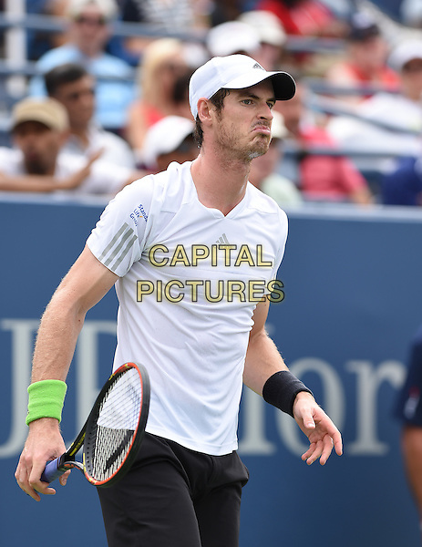 FLUSHING NY- AUGUST 30:  Andy Murray Vs Andrey Kuznetsov on Louis Armstrong Stadium at the USTA Billie Jean King National Tennis Center. Andy Murray reacts during his match against Victor Estrella Burgos during their match on August 30, 2014 in Flushing Queens. <br /> CAP/MPI/MPI04<br /> &copy;MPI04/MPI/Capital Pictures