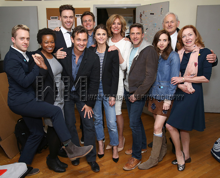 Max Jenkins, Quincy Tyler Bernstine, Erich Bergen, Hugh Dancy, Jonathan Groff, Keri Russell, Christine Lahti, Raul Esparza, Zoe Kazan, Victor Garber and Julie White backstage at the Indigo Theatre Project's Benefit Reading of  'An America Daughter'  at The Tony Kiser Theater on May 8, 2017 in New York City.