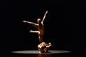 "Acosta Danza, the new dance company founded by Cuban dancer, Carlos Acosta, receives its UK premiere at Sadler's Wells. The piece shown is: ""El cruce sobre el Niagara"", choreographed by Marianela Boan. Picture shows: Carlos Luis Blanco, Alejandro Silva."