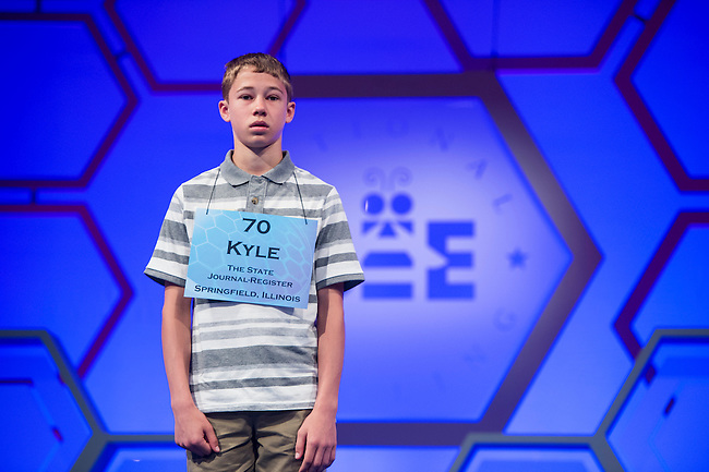 Speller No. 070, Kyle Campbell, 12, seventh grader at Riverton Middle School, Riverton, Illinois, competes in the preliminary rounds of the Scripps National Spelling Bee at the Gaylord National Resort and Convention Center in National Habor, Md., on Wednesday, May 29, 2013. Photo by Bill Clark