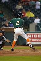 Jose Devers (2) of the Greensboro Grasshoppers at bat against the West Virginia Power at First National Bank Field on June 1, 2018 in Greensboro, North Carolina. The Grasshoppers defeated the Power 10-3. (Brian Westerholt/Four Seam Images)