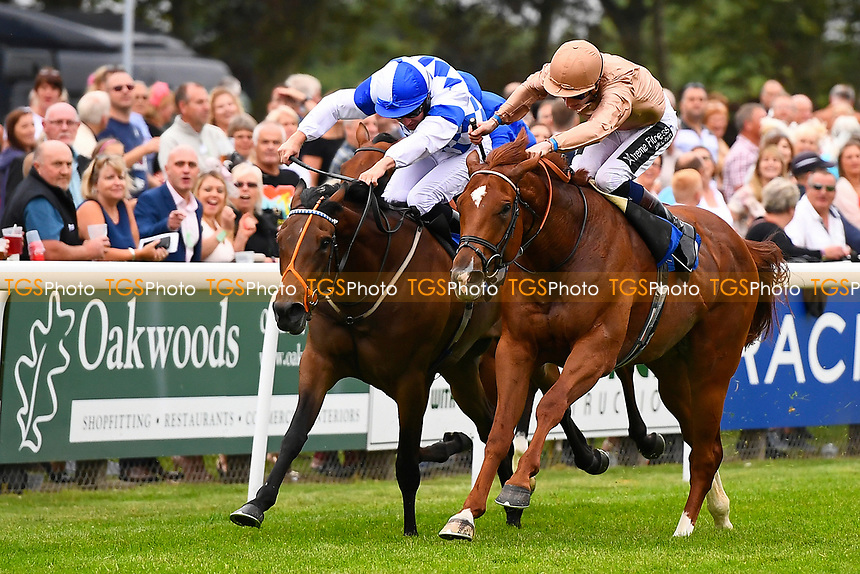 Winner of The CPA Scaffolding Maiden Stakes, Robin Weathers ridden by Daniel Muscutt and trained by William Haggas  during Ladies Evening Racing at Salisbury Racecourse on 15th July 2017