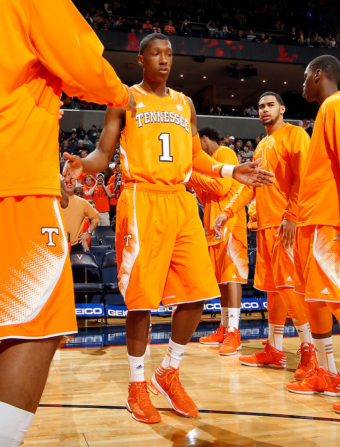 Tennessee guard Josh Richardson (1) during the game Wednesday in Charlottesville, VA. Virginia defeated Tennessee 46-38.