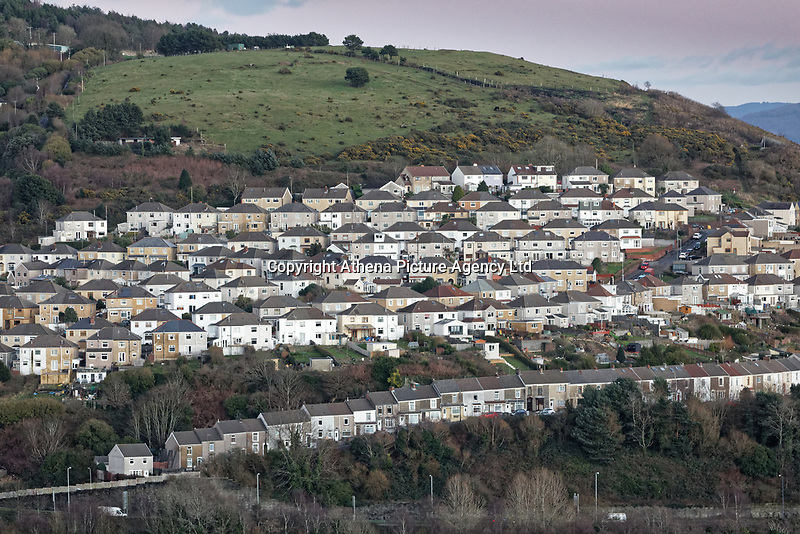 General view of the Saint Thomas area by Kilvey Hill Swansea, Wales, UK. Wednesday 30 January 2019
