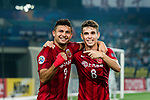 Shanghai FC Forward Elkeson De Oliveira Cardoso (L) celebrating his goal with his teammate Oscar Emboaba Junior (R) during the AFC Champions League 2017 Round of 16 match between Jiangsu FC (CHN) vs Shanghai SIPG FC (CHN) at the Nanjing Olympic Stadium on 31 May 2017 in Nanjing, China. Photo by Marcio Rodrigo Machado / Power Sport Images