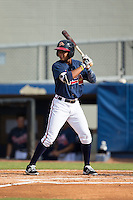 Derian Cruz (4) of the Danville Braves at bat against the Pulaski Yankees at American Legion Post 325 Field on July 31, 2016 in Danville, Virginia.  The Yankees defeated the Braves 8-3.  (Brian Westerholt/Four Seam Images)