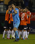 Picture by David Horn/eXtreme Aperture Photography +44 7545 970036<br /> 26/11/2013<br /> Luton Town Players celebrate Steve McNulty's wonder strike to make it 1-0 while Jamie Hand of Southport (front) tells team mates to concentrate during the Skrill Premier match at Kenilworth Road, Luton.