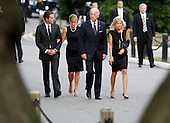 Washington, DC - August 29, 2009 -- United States Vice President Joe Biden (2nd from R) arrives at Arlington National Cemetery with his wife Dr. Jill Biden (R), his son Hunter (L) and his daughter-in-law Kathleen for the internment services for U.S. Senator Edward Kennedy.during the burial service for U.S. Senator Edward Kennedy at Arlington National Cemetery in Arlington, Virginia, August 29, 2009. Kennedy died late Tuesday after a battle with cancer..Credit: Jim Bourg - Pool via CNP