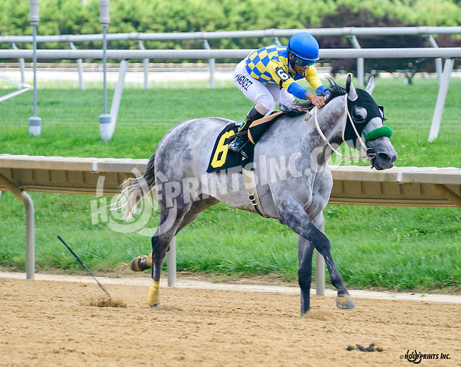 Keep It Pithy winning at Delaware Park on 8/4/16<br /> Oops - Kevin Mendez drops his whip