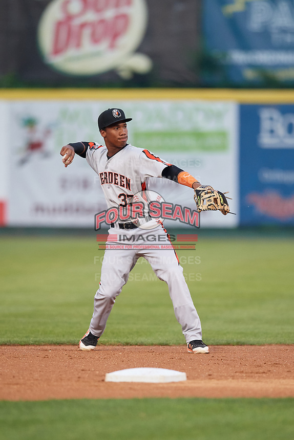 Aberdeen IronBirds second baseman Jean Carmona (37) throws to first base during a game against the Tri-City ValleyCats on August 27, 2018 at Joseph L. Bruno Stadium in Troy, New York.  Aberdeen defeated Tri-City 11-5.  (Mike Janes/Four Seam Images)
