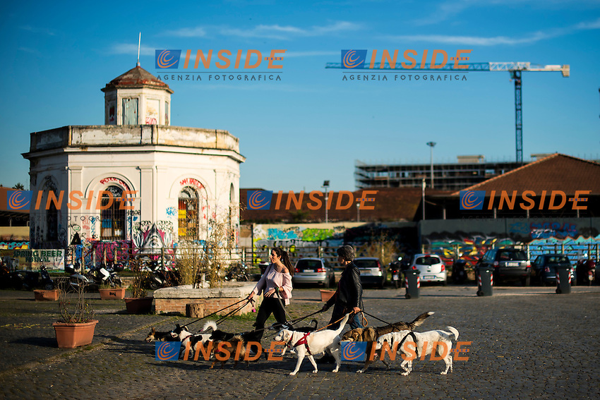 Two women take a walk to a pack of dogs<br /> Due donne portano a passeggio molti cani <br /> Roma 03-05-2016 Citta' dell'Altra Economia <br /> Foto Andrea Staccioli Insidefoto