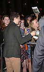 Michael Cera with fans leaving the stage door after the opening night performance of 'This Is Our Youth' at the Cort Theatre on September 11, 2014 in New York City.