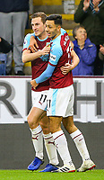 Burnley's Chris Wood celebrates scoring his side's first goal with teammate Dwight McNeil<br /> <br /> Photographer Alex Dodd/CameraSport<br /> <br /> The Premier League - Burnley v West Ham United - Sunday 30th December 2018 - Turf Moor - Burnley<br /> <br /> World Copyright © 2018 CameraSport. All rights reserved. 43 Linden Ave. Countesthorpe. Leicester. England. LE8 5PG - Tel: +44 (0) 116 277 4147 - admin@camerasport.com - www.camerasport.com