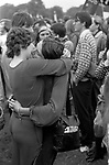 The Gay Liberation Front demonstrated against the Nationwide Festival of Light. Two lesbian women in an embrace, kissing, kiss as an act of defiance. against the Festival of Light rally in Hyde Park London September 1971 Festival of Light was a Christian protest movement against the English so called permissive Society  London Uk 1970s UK H