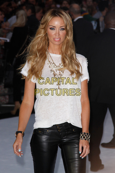 Lauren Pope.'Total Recall' UK Film Premiere arrivals, Vue Leicester Square, London, England..August 16th, 2012.half length t-shirt leather trousers necklace black .CAP/AH.©Adam Houghton/Capital Pictures.