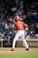 Jeremiah Jackson (1) of St. Luke's Episcopal High School in Mobile, Alabama during the Under Armour All-American Game presented by Baseball Factory on July 29, 2017 at Wrigley Field in Chicago, Illinois.  (Mike Janes/Four Seam Images)