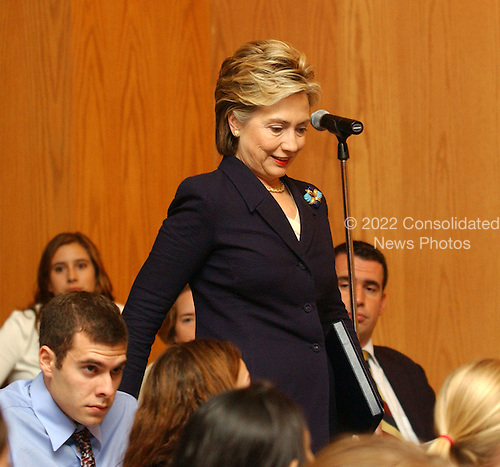 "Washington, D.C. - September 21, 2004 -- United States Senator Hillary Rodham Clinton (Democrat of New York) arrives before speaking at the Center for American Progress seminar titled ""Transforming the Reserve Component for the 21st Century"" at Georgetown University in Washington, D.C. on September 21, 2001.  In her remarks, Senator Clinton criticized the Bush Administration for a lack of resources for the National Guard, even in the face of their expanded role in national security and homeland security efforts..Credit: Ron Sachs / CNP.(RESTRICTION: NO New York or New Jersey Newspapers or newspapers within a 75 mile radius of New York City)"