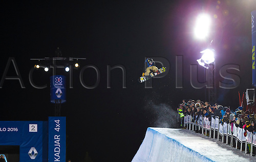 26.02.2016. Wyller Oslo Winter Park, Oslo, Norway. Red Bull X Games. Men's Snowboard SuperPipe Final Chase Josey of of United States goes high during the men's Snowboard SuperPipe Final at the at the Wyller Oslo winter park in Oslo, Norway.