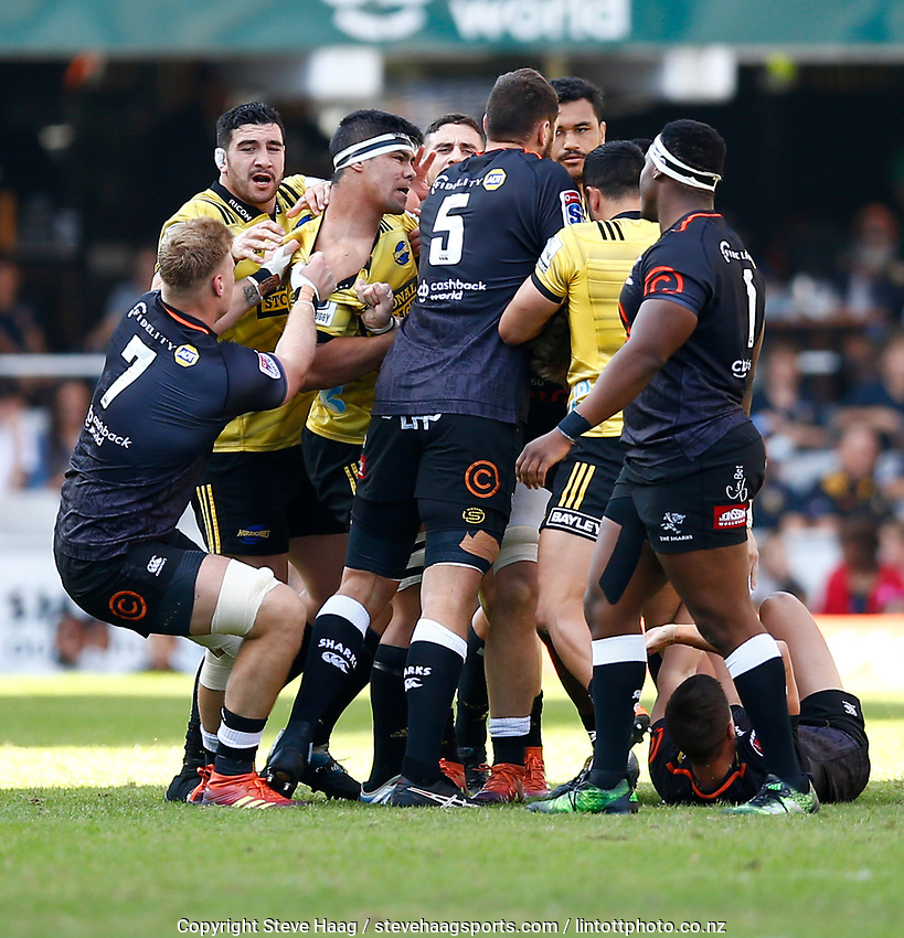 DURBAN, SOUTH AFRICA - JUNE 01: Players clash off the ball during the Super Rugby match between Cell C Sharks and Hurricanes at Jonsson Kings Park Stadium in Durban, South Africa on Saturday, 1 June 2019. Photo by Steve Haag / stevehaagsports.com