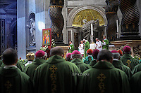 Pope Francis leads a mass for the closing of the 14th Ordinary General Assembly of the Synod of Bishops at St Peter's basilica  at the Vatican.October 25, 2015