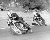 May 1952; kENT, uk;  John Surtees compact crouch helps to streamline him at top speed. Here he corners at Brands Hatch , Kent , scene of his latest win over Geoff Duke, world motorcycle champion May 1953