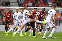 Callum Wilson of AFC Bournemouth is challenged by Jack O'Connell of Sheffield United during AFC Bournemouth vs Sheffield United, Premier League Football at the Vitality Stadium on 10th August 2019