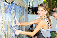 "Actress Maria Menounos attends the ""Bing Summer Of Doing"" with Dosomething.org by restoring CITYarts Mosaic Peace Wall at the Jacob H. Schiff Playground on July 10, 2012 in New York City. © mpi81 / MediaPunch Inc."