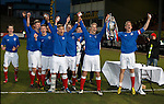 Rangers dup Grag Pascazio and Tom Walsh lift the Glasgow Cup after defeating Celtic 3-2