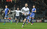 Preston North End's Paul Gallagher celebrates scoring his sides first goal <br /> <br /> Photographer Mick Walker/CameraSport<br /> <br /> The EFL Sky Bet Championship - Preston North End v Leeds United - Tuesday 10th April 2018 - Deepdale Stadium - Preston<br /> <br /> World Copyright &copy; 2018 CameraSport. All rights reserved. 43 Linden Ave. Countesthorpe. Leicester. England. LE8 5PG - Tel: +44 (0) 116 277 4147 - admin@camerasport.com - www.camerasport.com