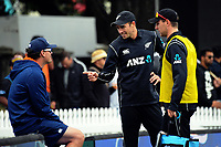 From left, NZ's Kyle Mills, Tim Southee and Matt Henry during the One Day International cricket match between the NZ Black Caps and Pakistan at the Basin Reserve in Wellington, New Zealand on Saturday, 6 January 2018. Photo: Dave Lintott / lintottphoto.co.nz