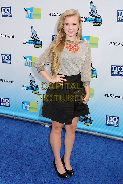 Sierra McCormick.The 2012 Do Something Awards at the Barker Hangar in Santa Monica, California, USA..August 19th, 2012.full length black skirt silver grey gray top gold clutch bag hand on hip orange necklace .CAP/ADM/BP.©Byron Purvis/AdMedia/Capital Pictures.