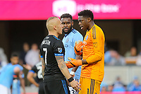 San Jose, CA - Saturday March 31, 2018: Magnus Eriksson, Sean Johnson during a Major League Soccer (MLS) match between the San Jose Earthquakes and New York City FC at Avaya Stadium.