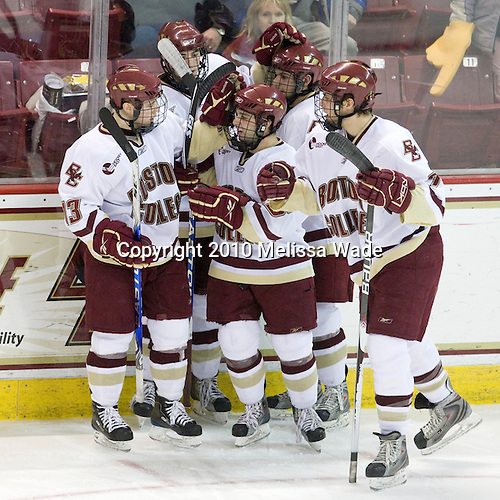 Cam Atkinson (BC - 13), Edwin Shea (BC - 8), Joe Whitney (BC - 15), Brian Gibbons (BC - 17), Carl Sneep (BC - 7) - The Boston College Eagles defeated the Providence College Friars 4-1 on Tuesday, January 12, 2010, at Conte Forum in Chestnut Hill, Massachusetts.
