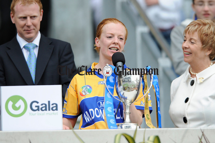 Captain Deirdre Murphy speaking after the All-Ireland junior camogie final at Croke Park. Photograph by John Kelly.