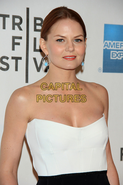 "Jennifer Morrison.The 2012 Tribeca Film Festival World Premiere of ""Knife Fight"" at the Tribeca Performing Arts Center, New York, NY, USA..April 25th, 2012 .half length white strapless top turquoise earrings silver .CAP/LNC/TOM.©TOM/LNC/Capital Pictures."