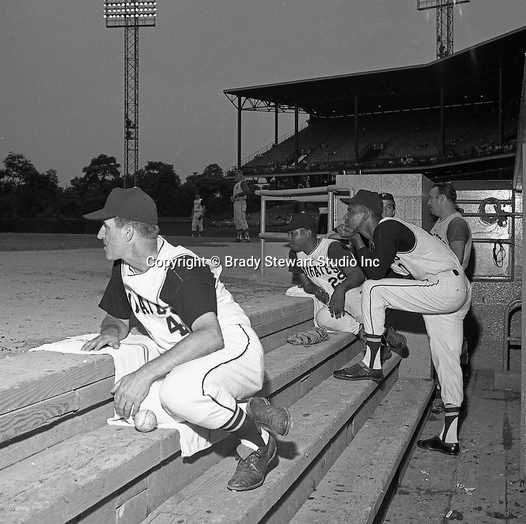 Pittsburgh PA:  Pirate players, Don Clendenon #17, Don Schwall #29 & Coach John Pesky #4 at the HYPO charity baseball game with the Cleveland Indians - 1964. The money raised by HYPO (Help Young Players Organize) was used to help local communities buy equipment and build ball fields