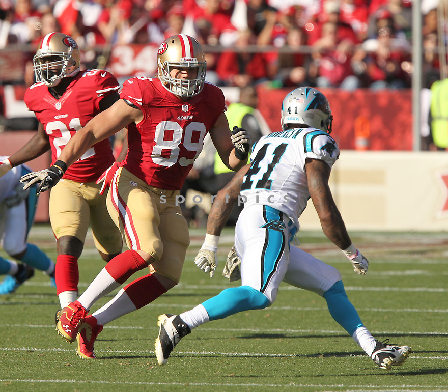 San Francisco 49ers Vance McDonald (89) during a game against the Carolina Panthers on November 10, 2013 at Candlestick Stadium in San Francisco, CA. The Panthers beat the 49ers 10-9.
