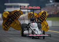 Oct. 6, 2012; Mohnton, PA, USA: NHRA top fuel dragster driver Steve Torrence during qualifying for the Auto Plus Nationals at Maple Grove Raceway. Mandatory Credit: Mark J. Rebilas-